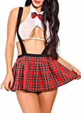da Donna School Girl Uniform Costume Vestito da Lolita Mini Top e Gonna Plaid a Pieghe