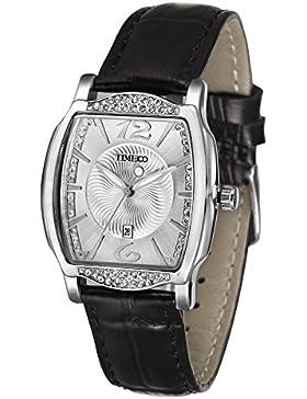 TIME100 Damenuhr Diamant Retro eckig Quarz Leder #W50309L.02AN