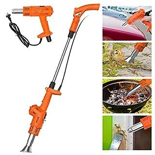 3in1 Funktion Unkrautvernichter Unkrautbrenner NASUM Abflammgerät und Heißluftpistole, ohne Gas &Chemie, elektrisch umweltfreudlich, 2000W Gartenwerkzeug, 80℃ bis 650℃, 1.8m Kabel mit 5 Düsen Orange