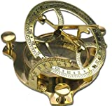 Nautic Kompass Sonnenuhr MESSING 11,5cm + Holzetui Modell ELECSA 9061