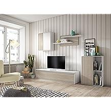 Mueble de Salón Comedor moderno CALI con Mueble TV de 160 cm/Puerta abatible mediante Piston de gas. Bisagras metalicas. Color Blanco y Roble. Modulos que posibilitan el libre montaje