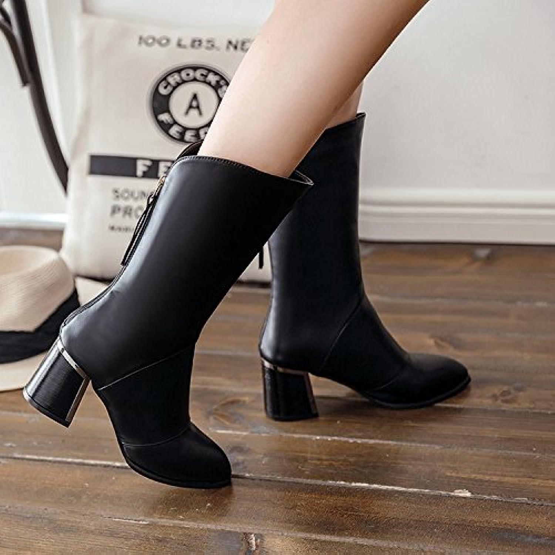 El barril de crudo de botas con cremallera señaló alta Heel Shoes plus versátil y cálida de terciopelo negro,...
