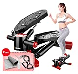 Air Climber Aerobic Fitness Step Stair Stepper mit Accessory Cord Ground Mat LCD Monitor Magnetic Massage Pedal Dark Red