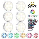 RGB Schrankleuchten LED Nachtlicht mit Fernbedienung 6er, Kabinett Beleuchtung 10 Dimmstufen 4...