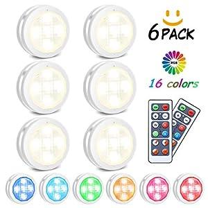 RGB Schrankleuchten LED Nachtlicht mit Fernbedienung 6er, Kabinett Beleuchtung 10 Dimmstufen 4 Timing Funktion…