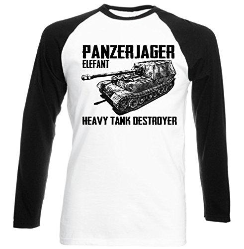 teesquare1st Panzerjager Elefant Camiseta DE Mangas Negra LARGAS T-Shirt Size Large