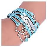 Bracelet - TOOGOO(R)Bracelet mode double coeurs d'amour One Direction bracelet avec charme montre l'Amitie en cuir 17,5 + 4,5cm Bleu Clair