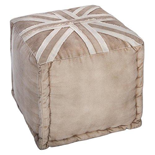 Viereckiger Hocker aus 100% Baumwolle - Hohe Qualität - Motiv LONDON - Farbe BEIGE