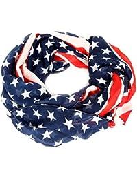 Calonice Amorino Damen Accessoire, rot, weiß, blau, Tuch mit amerikanischer Flagge, sternenbesäte Flagge, Tuch Rot weiß blau, Einheitsgröße 70x160x0.1 cm, (LxBxH)