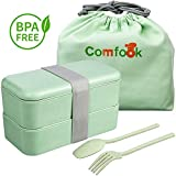 Comfook Lunch Bento Box Contenitore per Alimenti per Adulti Contenitore Ecologico per Il Pranzo di Paglia di Grano BPA Free, Microwave Safe, Lunchbox a Tenuta stagna per Lavoro, Scuola, Viaggi