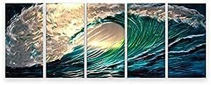 décoration murale métal moderne art peint à la main contemporain peinture abstraite - Panels Waves