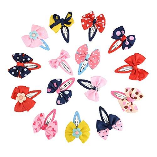 Frcolor Haarspange 15pcs Haarschmuck mit Schleife Deko für Mädchen / süße Haarclip für Kinder (zufällige Farbe)