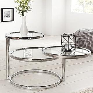 Couchtisch Beistelltisch OLYMPIUS Chrom Glas 155cm Rund (3 Ebenen a 55/45/45cm Ø) Art deco Wohnzimmertisch Blumenbank - Designer Tisch von ambientica