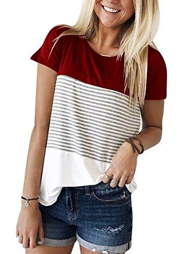 Ehpow Damen Sommer T-Shirt Casual Streifen Patchwork Kurzarm Oberteil Tops Bluse Shirt (Small, Wein)