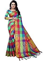 J B Fashion Women's Multi Colour Cotton Silk Saree With Blouse Material