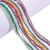 PandaHall-Cadena de Abalorios de cristal Electrochapa, AB color plateado, tallado Abacus, color mixto, 3,5 ~ 4x2.5 ~ 3 mm; Agujero: 0.5mm, sobre 150pcs / strand, 15.5 '