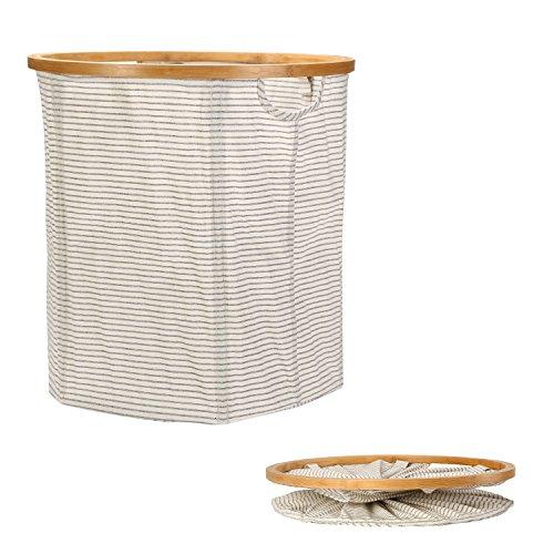 Mr.do Wäschekorb Aufbewahrungskorb Faltbarer Rund Korb Baumwolle Wäschebox Wäschesammler Bambus Rahmen Schwarz Weiß Streifen Groß 91L