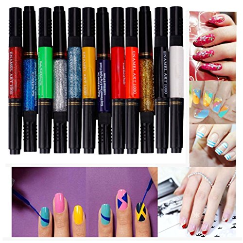 Ouneed® nail art/ 12 couleurs à deux voies Acrylique 3D Nail Kit solide pur Pen polonaise Brush Dotting Gel Glitter Nail Art Peinture DIY Design Dessin Set (coloré)