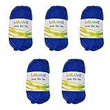 5er Pack Filz Wolle blau 100% Schurwolle 250g, Wolle zum Stricken und Filzen Marke: LaLuna®
