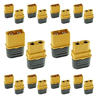 Rasio Amass XT60H Bullet Connector Plug Upgraded Version XT60 Connectors with Covers Male Female Gold Plated For RC Parts 10 Pair