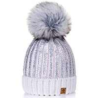 4sold Womens Ladies Winter Hat Knitted Beanie Large Pom Pom Cap Ski Snowboard Hats Bobble Gold Circle (White)