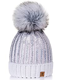 Damen Wurm Winter Style Beanie Strickmütze Mütze mit Fellbommel Bommelmütze Hat Ski Snowboard Pelz Bommel Pompon Gold Circle 4sold