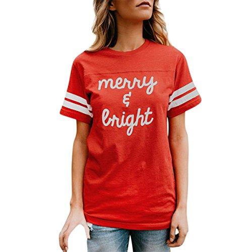 HET Damen Sommer Baumwolle Rot O-Ausschnitt T-Shirt Mode Persönlichkeit Kurzarm Streifen und Brief Gedruckt T-Shirt Lose Bluse Casual Tops (L, Rot) (College Kostüme Für Jungs)