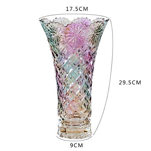Jarrón de cristal, flor de vidrio tallado Jarrón colorido transparente resistente europeo...