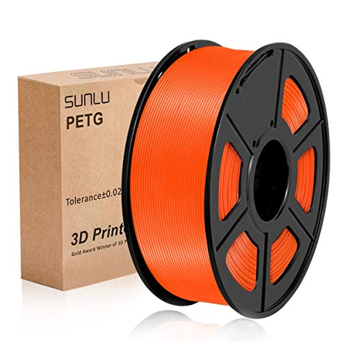 SUNLU PETG 3D filament 1.75mm 1KG(2.2lb), PETG 3D Printer Filament, Dimensional Accuracy +/- 0.02 mm, 1 kg Spool, 1.75 mm, Orange PETG