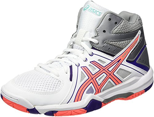 Asics Gel-Task Mt, Chaussures de Volleyball Femme Blanc (White/flash Coral/parachute Purple)