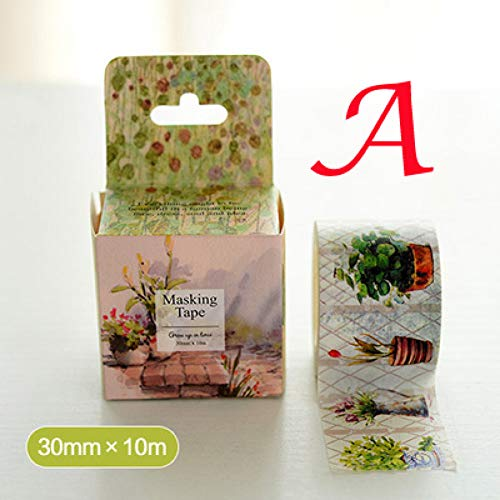 m * 10M Farbe Blume Und Pflanze Tape/Box Verpackung/Klebeband DIY Sticker Masking Tape ()