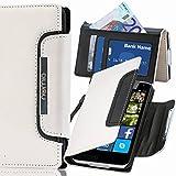 numia Nokia Lumia 925 Hülle, Handyhülle Handy Schutzhülle [Book-Style Handytasche mit Standfunktion und Kartenfach] Pu Leder Tasche für Nokia Lumia 925 Case Cover [Weiss-Schwarz]