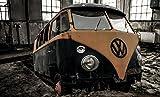 Wandbild 200x115cm VW T1 Fototapete Poster XXL Schrott Wrack Bulli Alt Verlassen WA300T1