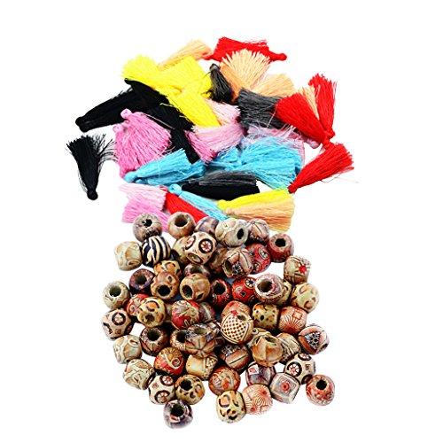 Holz-perlen-trim (Sharplace Mehrfarbige Chinesische Seidenfaden-Quasten und Anhänger, 12 mm bedruckte Holz-Perlen im Boho-Stil, zum Basteln)