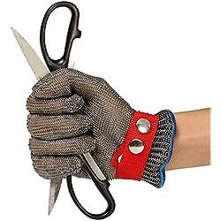 Schnittschutzhandschuhe, LIUMY Schnittfeste Lebensmittelecht Handschuhe,100% Edelstahl-Metal Mesh Metzgerhandschuh mit Weiße Stoffhandschuhe, 10.5~11cm Breite