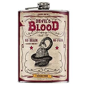 Jacks inn-flasque devils blood no brain no pain steampunk-flasque-ca.240 ml en acier inoxydable