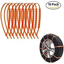 10 pcs Cadenas Nieve para Coche Neumáticos Antideslizante,GZQ,Cadenas Nieve ajusta 14-24 inch Neumáticos,Color Naranja