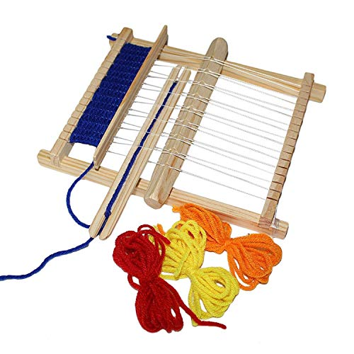 Weaving Loom Kids - Multi-Craft Wooden Weaving Loom with Mixed Yarns, Adjusting Rod, Comb, Shuttle and Nylon Cord - Lap Weaving Loom for Beginners and Children (22cm x 16.5cm)