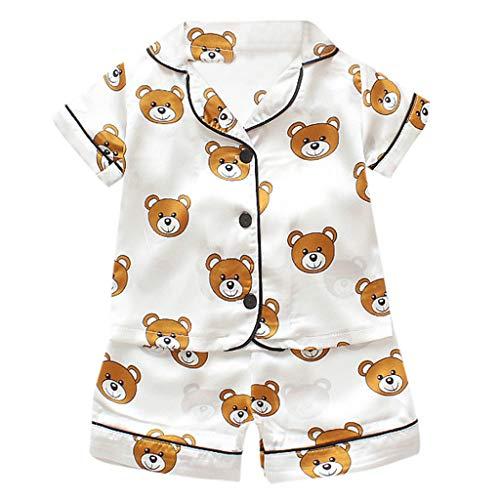 Yuan  Kleinkind scherzt Baby-Mädchen-Karikatur-Pyjama-Nachtwäsche-T-Shirt Kurzschluss-Kleidung Set Kurzärmeliger Hausdienst-Baby-Pyjama, dünn Geschnittener weiblicher Schatzanzug - Kleinkind-schnee-hose