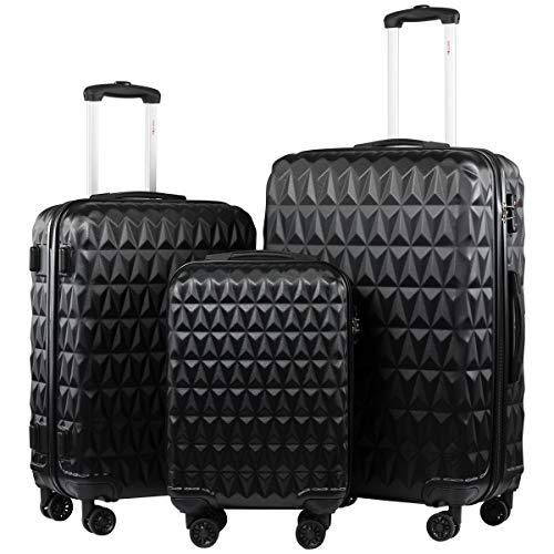 Seanshow Hochwertiger Hartschalen-Trolley mit TSA-Schloss und Laufrollen, 3-teiliges Set (55 cm, 68 cm, 78 cm), (Kofferset Mit Tsa-schloss)