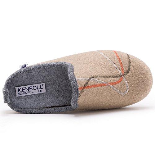 Kenroll Hommes Chaussons Chaud Hiver intérieure à la maison Antidérapage Pantoufles Kaki