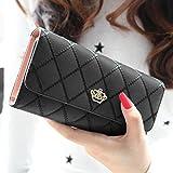 Ouneed® Damen groß Kapazität elegante Krone Luxus Wachs Leder Geldbörsen mit Reißverschluss-Tasche (Schwarz)