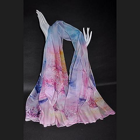 Châle à double usage long foulard en soie de mûrier serviette de plage protection solaire arbre d'artifice
