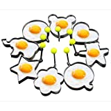 Slomg 8pcs Set Fried Egg Cooking Rings Non Stick Pancake Mould Cookies Maker Baking Shaper Stainless Steel Kitchen Gadget Tool