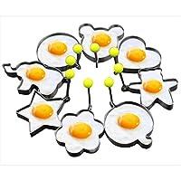 Marchio: Slomg.       Set anelli per cottura uovo al tegamino di Slomg. 8 pezzi, antiaderente, stampi per pancake, biscotti, torte, formine in acciaio inox, gadget strumento da cucina.       Slomg fa più uova e pancake allo stesso temp...
