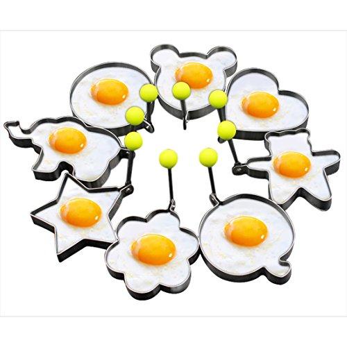 Foto de Slomg set de 8 piezas de moldes para huevos fritos, panqueques y galletas, utensilio de cocina para horno fabricados con acero inoxidable