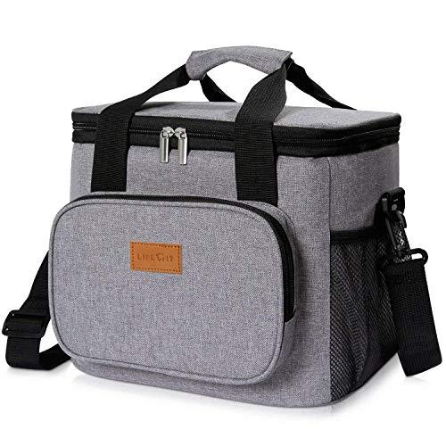 Lifewit 15l borsa termica manutenzione di freddo e caldo per uomo/donna/bambino porta pranzo cibo alimentazione lunch box per campeggio lavoro scuola (grigio)