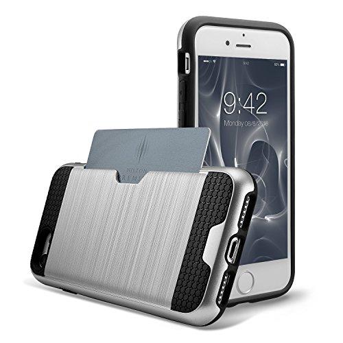 iPhone 7 Hülle, technext020 Schwere Rüstung, harte Stoßfänger, schlanke Kreditkarte Abdeckung Grau Silber