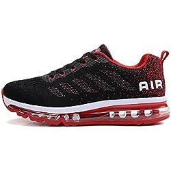 tqgold Unisex Uomo Donna Scarpe da Ginnastica Corsa Sportive Fitness Running Sneakers Basse Interior Casual all'Aperto (Nero Rosso,40 EU)