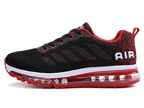 tqgold Sportschuhe Herren Damen Laufschuhe Turnschuhe Sneakers Leichte Schuhe (Schwarz Rot,44 Größe)